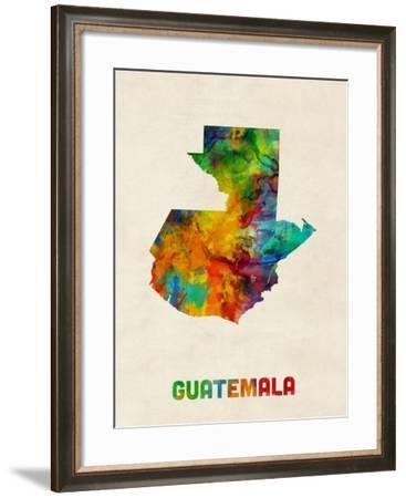 Guatemala Watercolor Map-Michael Tompsett-Framed Art Print