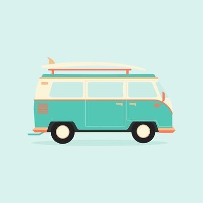 Color Full Surfer Van. Transportation and Surfing, Sport Board, Vector Illustration