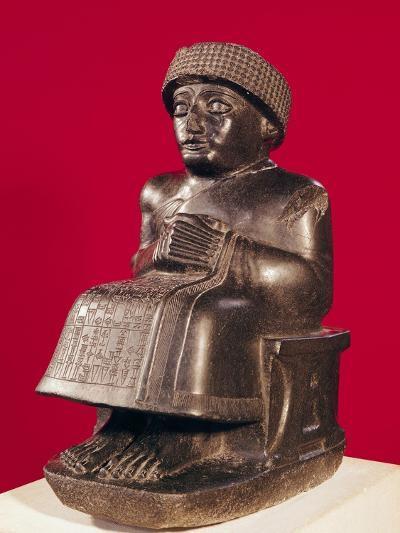 Gudea, Prince of Lagash, Statue to Ningizzada, Neo-Sumerian, from Telloh, Ancient Girsu, c. 2130 BC--Giclee Print