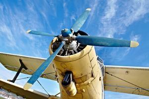 Engine of an Old Airplane from Low Angle by Gudella