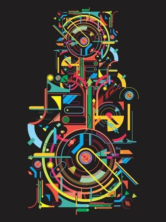 Colorful Abstract Tech Shapes on Black Background,Vector