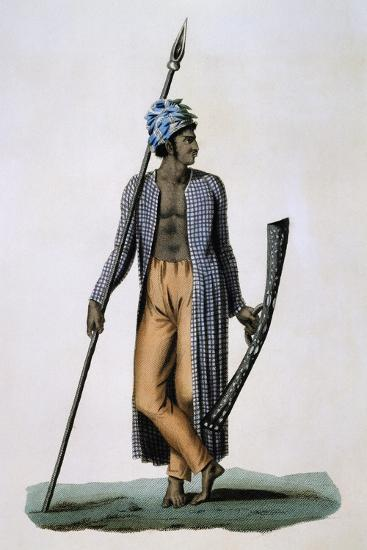 Guebe Island Warrior, Moluccas, Engraving by Roger from Drawing by Jacques Arago--Giclee Print