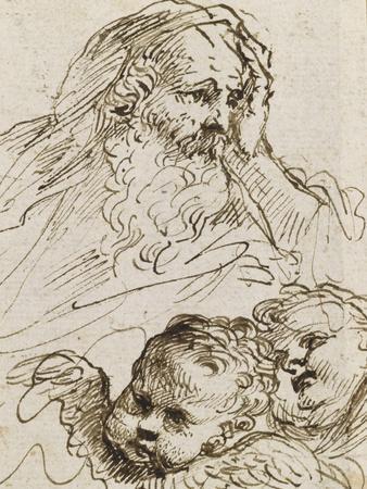 Demi-figure de vieillard et deux têtes d'anges ; Demi-figure d'homme nu, assis, tourné vers droite