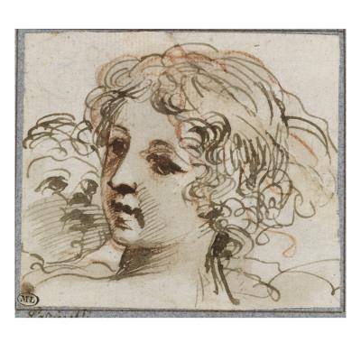 Etude de deux têtes de jeunes femmes ; Saint Jean-Baptiste, assis, de profil, tenant une coupe ;