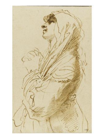 Femme voilée, vue à mi-corps, de profil vers la gauche