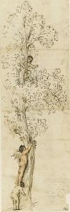 Un amour dans un arbre sur lequel monte un autre amour, aidé d'un enfant by Guerchin Le