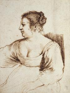 A Woman Seated, 1640 - 1649 (Pen and Brown Ink with Brown Wash on White Paper) by Guercino