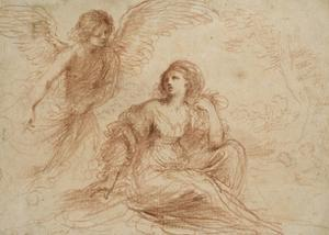 An Angel Appearing to Hagar and Ishmael, C.1653 by Guercino
