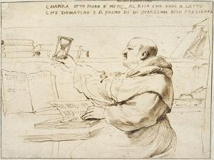 Caricature of Fra Bonaventura Bisi, 1655 - 1659 by Guercino