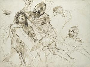 Christ Carrying the Cross, C.1625 - 1628 (Pen and Brown Ink on White Paper) by Guercino