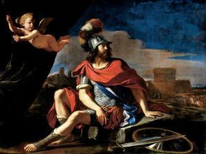 Mars with Cupid, 1649 by Guercino (Giovanni Francesco Barbieri)