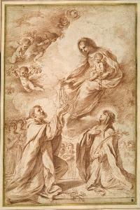 The 'Madonna Del Rosario' with St. Dominic and St. Catherine of Siena by Guercino (Giovanni Francesco Barbieri)