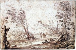 Landscape, 17th Century by Guercino