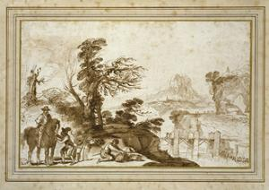 Landscape with a Horseman and a Bridge (Pen and Wash in Brown Ink with Some Black Chalk on Off-Whit by Guercino