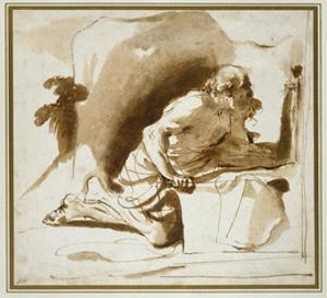 St Jerome, C.1622 - 1624 (Pen and Brown Ink with Brown Wash on White Paper) by Guercino