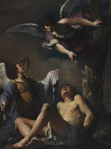 St. Sebastian Succoured by Two Angeks, 1617 by Guercino