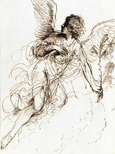 'Study of an Angel', c1611-1666. Artist: Guercino by Guercino