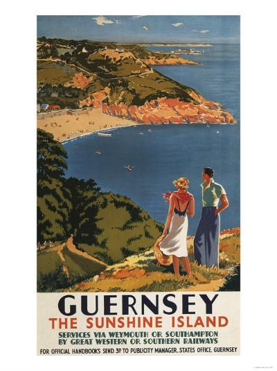 Guernsey, England - Southern/Great Western Rail Couple on Cliff Poster-Lantern Press-Art Print