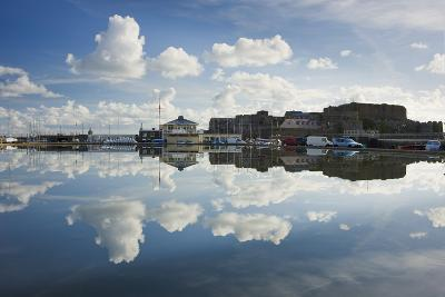 Guernsey Yacht Club and Castle Cornet in the Still Reflections of a Model Boat Pond, St Peter Port-David Clapp-Photographic Print