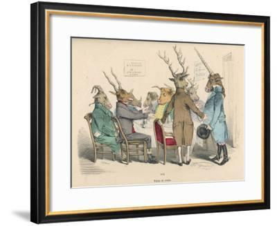 Guests at a Stag Party Welcome the Arrival of the Unicorn--Framed Giclee Print