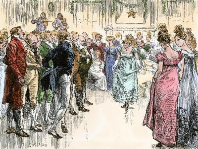 Guests Dancing the Virginia Reel at a Westover Plantation Ball, 1700s--Giclee Print