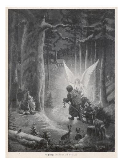 Guiding Xmas Angel--Giclee Print