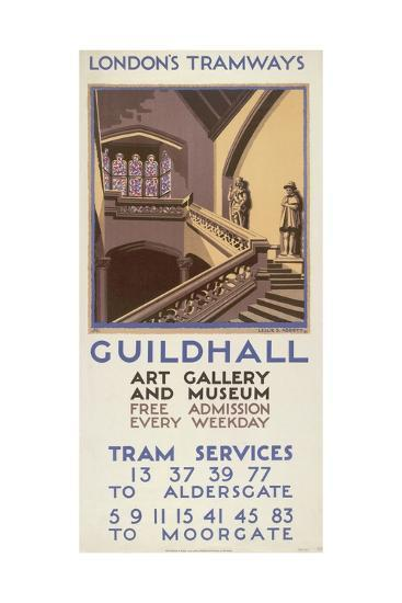 Guildhall Art Gallery and Museum, London County Council (LC) Tramways Poster, 1927-Leslie S Abbott-Giclee Print