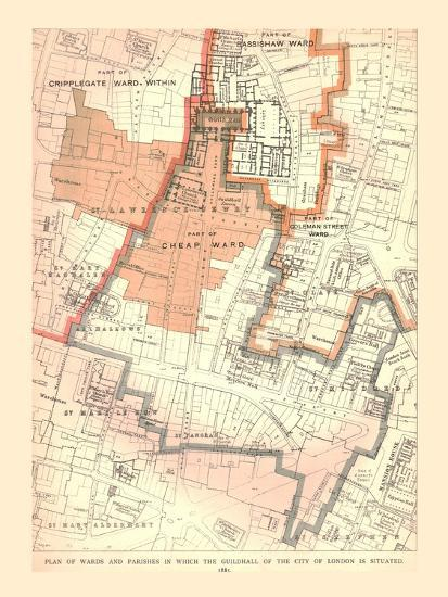Guildhall City of London. Plan of Wards and Parishes, 1885, (1886)-Unknown-Giclee Print