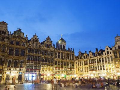 Guildhalls in the Grand Place Illuminated at Night, UNESCO World Heritage Site, Brussels, Belgium-Christian Kober-Photographic Print