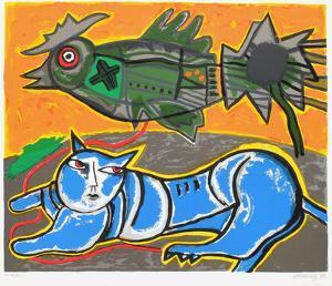 Le Grand Chat Bleu Et L'Oiseau by Guillaume Corneille