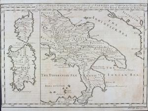 Map of Southern Italy, Corsica, and Sardinia known in Ancient Times as Great Greece or Magnia… by Guillaume Delisle