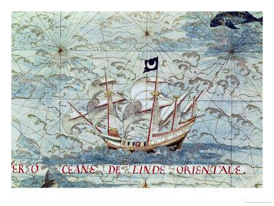 """A Caravel, from """"Cosmographie Universelle"""", 1555"""