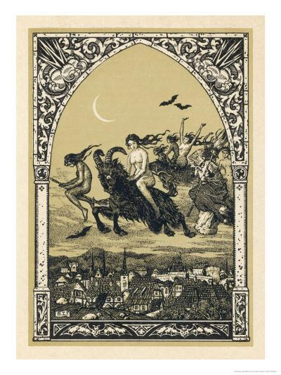 Guillemette Babin and Her Fellow- Witches Naked are Carried-Bernard Zuber-Giclee Print