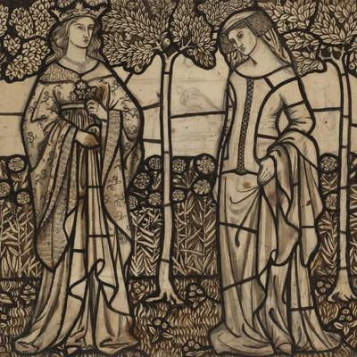 Guinevere and Iseult: Cartoon for Stained Glass-William Morris-Premium Giclee Print