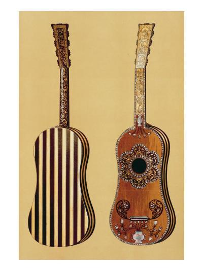 Guitar Inlaid with Mother-of-pearl, from 'Musical Instruments'-Alfred James Hipkins-Giclee Print