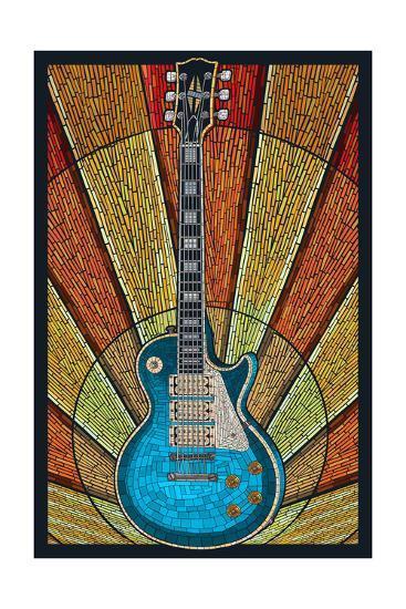 Guitar - Mosaic-Lantern Press-Art Print