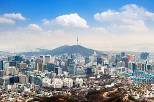 View of Downtown Cityscape and Seoul Tower in Seoul, South Korea. by Guitar photographer