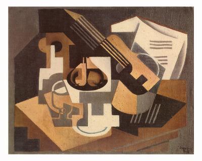 Guitare et Compotier sur une Table, c.1918-Juan Gris-Art Print