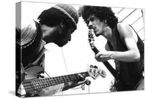 Guitarists David Brown And Carlos Santana During Music And Art Festival In Woodstock, August 1969