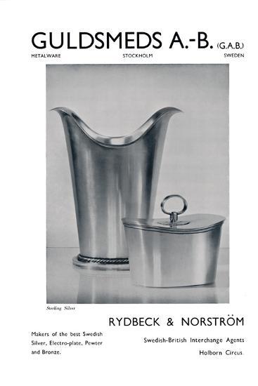 'Guldsmeds A.-B. (G.A.B.) - Sterling Silver - Rydbeck & Norström.', 1939-Unknown-Photographic Print