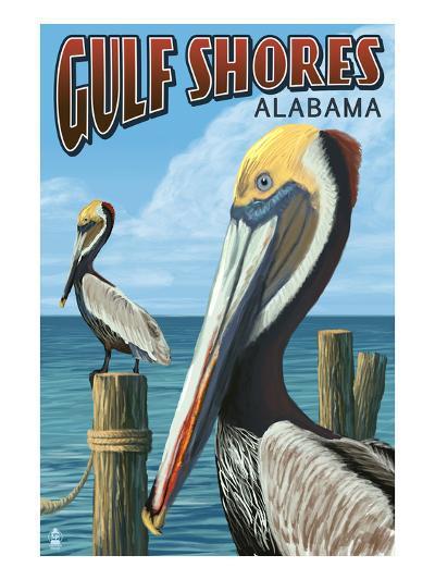Gulf Shores, Alabama - Brown Pelican-Lantern Press-Art Print