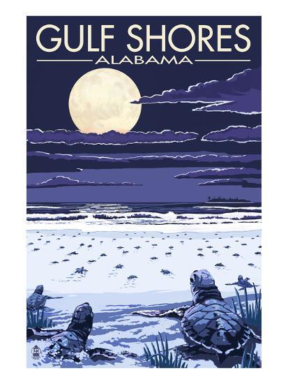 Gulf Shores, Alabama - Sea Turtles-Lantern Press-Art Print
