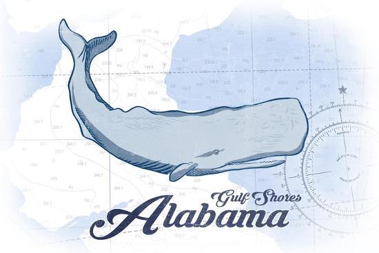 Gulf Shores, Alabama - Whale - Blue - Coastal Icon-Lantern Press-Art Print