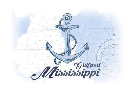 Gulfport, Mississippi - Anchor - Blue - Coastal Icon-Lantern Press-Art Print