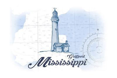 Gulfport, Mississippi - Lighthouse - Blue - Coastal Icon-Lantern Press-Art Print