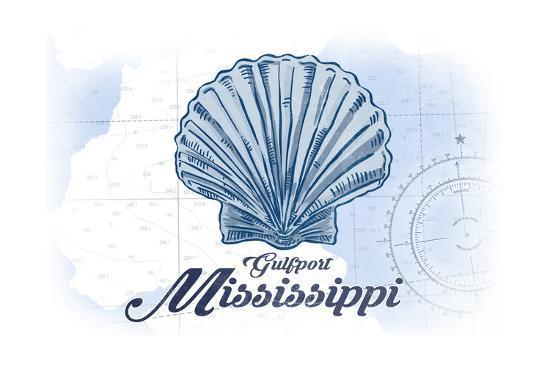 Gulfport, Mississippi - Scallop Shell - Blue - Coastal Icon-Lantern Press-Art Print