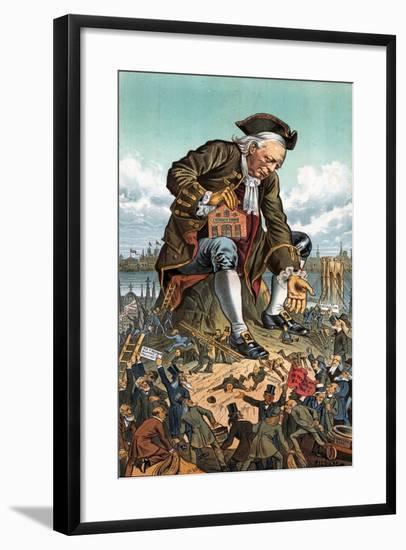 Gulliver and the Party Lilliputians, 1885-Bernard Gillam-Framed Giclee Print