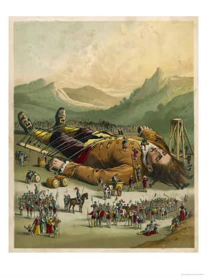 Gulliver is Tied Down by the People of Lilliput--Giclee Print