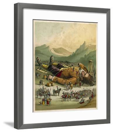 Gulliver is Tied Down by the People of Lilliput--Framed Giclee Print