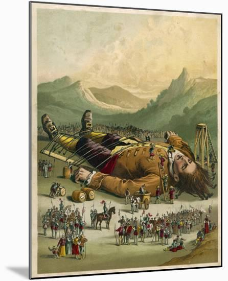 Gulliver is Tied Down by the People of Lilliput--Mounted Giclee Print